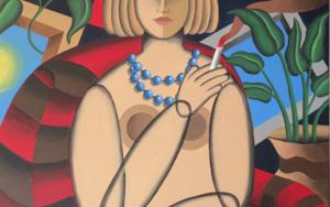 Femme et chat bleu|PinturadePere Lluis León| Compra arte en Flecha.es