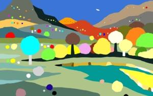 Paisaje con río|DibujodeALEJOS| Compra arte en Flecha.es