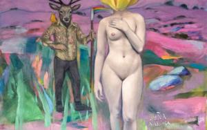 Doña Narcisa y el joven de la guadaña Arcoiris|PinturadeJuan Mateo Cabrera| Compra arte en Flecha.es