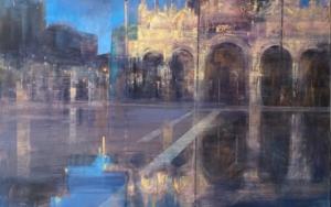 Venecia en azules|PinturadeISABEL  AVILA| Compra arte en Flecha.es