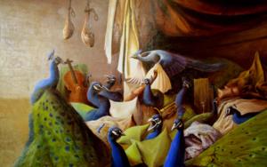 Interior con pavos reales PinturadeEduardo Varela  Compra arte en Flecha.es