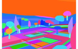 Hockney 2 courts night|DibujodeARTMVG| Compra arte en Flecha.es