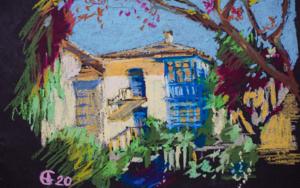 Toro. La casita vieja. OIL PASTEL PAINTING. MADRID ORIGINAL YELLOW BLUE OLD TOWN INTERIOR DECOR DETAIL GIFT MODEN IMPRESSIONISM|PinturadeSasha Romm Art| Compra arte en Flecha.es