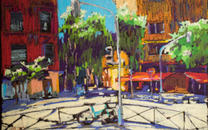 Calle de Madrid. MADRID STREET. SUNNY DAY. BRIGHT OIL PASTEL PAINTING. ORIGINAL SMALL CITY INTERIOR DECOR SUNLIGHT ETUDE ROMANTIC MODERN IMPRESSIONISM|DibujodeSasha Romm Art| Compra arte en Flecha.es