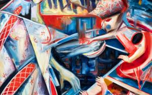 Madre de tres: surrealismo y abstracción, una visión de una casa|PinturadeMaciej Cieśla| Compra arte en Flecha.es