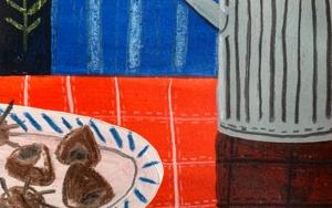 """De la serie """"bodegón en rojo y ajul"""" /  Castañas y limón DibujodeCARLOS QUIRALTE  Compra arte en Flecha.es"""