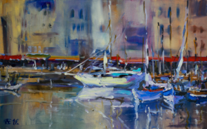 Honfleur puerto. Francia, Normandia. ORIGINAL OIL PAINTING BOATS NORMANDY SEASCAPE LANDSCAPE INTERIOR MUTED COLORFUL|PinturadeSasha Romm Art| Compra arte en Flecha.es