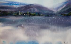 Alpes. Lago de las montañas.  WATERCOLOR ORIGINAL PAINTING. BIG FORMAT PURPLE WATER REFLECTIONS INTERIOR MOODY MIST GIFT CLOUDS ITALY MODERN IMPRESSIONISM DibujodeSasha Romm Art  Compra arte en Flecha.es