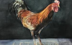Gallo gallego|PinturadeChela Grijelmo| Compra arte en Flecha.es