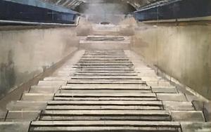 Escalera - Bajada Nuevos Ministerios|PinturadeAdriana Berges| Compra arte en Flecha.es