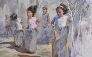 El empate, el día que las niñas le ganaron a Fernando|PinturadeCelestino Mesa| Compra arte en Flecha.es