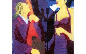 Jazz trío con cantante morado|Obra gráficadeJenifer Carey| Compra arte en Flecha.es