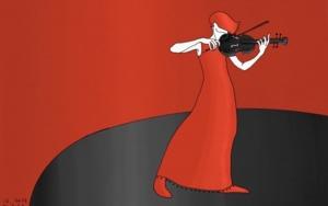 Mujer música con violín|DigitaldeLola Barcia Albacar| Compra arte en Flecha.es