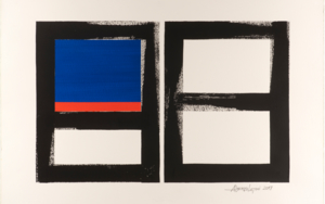 GEOMETRIC BLUE AND ORANGE|Pinturadealberto latini| Compra arte en Flecha.es
