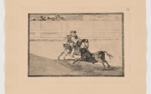 La Tauromaquia. Un caballero español en plaza quebrando rejoncillos sin auxilio de los chulos (Estampa 13)|Obra gráficadeFrancisco de Goya y Lucientes| Compra arte en Flecha.es