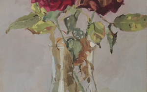 Dos Rosas marchitando|PinturadeCarmen Campos-Guereta| Compra arte en Flecha.es