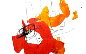 NARANJA Y ROJO|PinturadeIVÁN MONTAÑA| Compra arte en Flecha.es