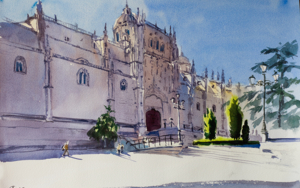 NEW CATHEDRAL. SALAMANCA, SPAIN. ORIGINAL WATERCOLOR. SMALL URBAN LANDSCAPE CITY TRAVEL INTERIOR IMPRESSIONISTIC MOOD SHADOW PURPLE INSPIRATION|PinturadeSasha Romm Art| Compra arte en Flecha.es