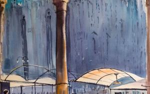 MILANO DUOMO. URBAN LANDSCAPE WITH LIGHT, SHADOW AND EMPTY TERRACE. BIG FORMAT WATERCOLOR URBAN LANDSCAPE MEDITERRANEAN ITALY SEA BRIGHT ARCHITECTURE OLD TRAVEL MILAN CATHEDRAL COFFEE MODERN IMPRESSIONISM|DibujodeSasha Romm Art| Compra arte en Flecha.es