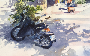 Nueva normalidad. Madrid. SUNNY DAY IN PANDEMIC TIMES. STREET SCENE WITH MOTO AND MASK. BIG FORMAT WATERCOLOR URBAN LANDSCAPE MODERN IMPRESSIONISM|DibujodeSasha Romm Art| Compra arte en Flecha.es
