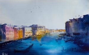 Venecia al atardecer.  VENICE. SUNSET VIEW OF GRAND CANAL. MEDIUM FORMAT WATERCOLOR URBAN LANDSCAPE MEDITERRANEAN ITALY SEA BRIGHT ARCHITECTURE OLD TRAVEL PAISAJE IMPRESSIONISMO DibujodeSasha Romm Art  Compra arte en Flecha.es