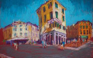 Calle en Verona. VERONA STREET. SUNNY URBAN LANDSCAPE. ITALY SMALL OIL PASTEL IMPRESSIONISTIC INTERIOR PAINTING BRIGHT SUNNY PAISAJE IMPRESSIONISMO|DibujodeSasha Romm Art| Compra arte en Flecha.es