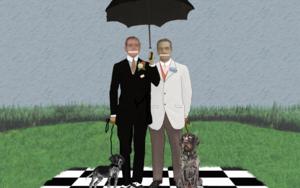 """"""" Los hermanos Staffordfootjoy en su casa de campo de Southend-on-sea"""" CollagedeGabriel Aranguren  Compra arte en Flecha.es"""