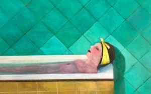 Bath time: Woman wih yellow lace|IlustracióndeSusana Mata| Compra arte en Flecha.es