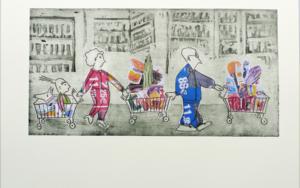 LA COMPRA EN CARREFOUR - Serie FELIZ DOMINGO|Obra gráficadeAna Valenciano| Compra arte en Flecha.es