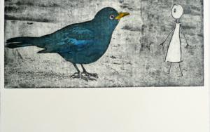 Ve un pájaro y se sorprende Obra gráficadeAna Valenciano  Compra arte en Flecha.es
