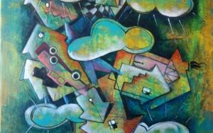 Nubes sobre la ciudad|PinturadeCarlos Anabeil| Compra arte en Flecha.es