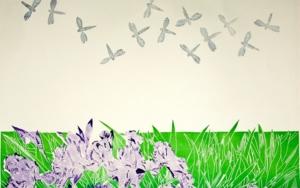 Serie Jardines: Flores, libelulas y Pájaros IlustracióndeNélida Dias de Campos  Compra arte en Flecha.es