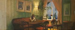 La hora del café   Pintura de Orrite   Compra arte en Flecha.es