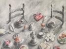 """""""Desayuno mediterráneo con libreta roja""""   Pintura de Lola Barcia Albacar   Compra arte en Flecha.es"""