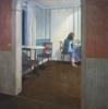 Chica tomando el café | Pintura de Orrite | Compra arte en Flecha.es
