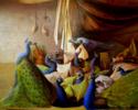 Interior con pavos reales | Pintura de Eduardo Varela | Compra arte en Flecha.es