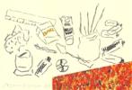 Mesa de artista con paquete CAMEL | Dibujo de Alberto Corazón | Compra arte en Flecha.es