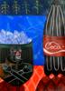 """De la serie """"bodegón en rojo y azul"""" / Palomitas y cola   Dibujo de CARLOS QUIRALTE   Compra arte en Flecha.es"""