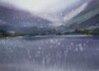 Alpes. Lago de las montañas.  WATERCOLOR ORIGINAL PAINTING. BIG FORMAT PURPLE WATER REFLECTIONS INTERIOR MOODY MIST GIFT CLOUDS ITALY MODERN IMPRESSIONISM   Dibujo de Sasha Romm Art   Compra arte en Flecha.es