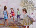 Jugando a la goma | Pintura de Celestino Mesa | Compra arte en Flecha.es