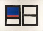 GEOMETRIC BLUE AND ORANGE | Pintura de alberto latini | Compra arte en Flecha.es