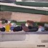People on a bridge | Pintura de Saracho | Compra arte en Flecha.es
