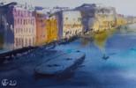 Venecia al atardecer.  VENICE. SUNSET VIEW OF GRAND CANAL. MEDIUM FORMAT WATERCOLOR URBAN LANDSCAPE MEDITERRANEAN ITALY SEA BRIGHT ARCHITECTURE OLD TRAVEL PAISAJE IMPRESSIONISMO   Dibujo de Sasha Romm Art   Compra arte en Flecha.es